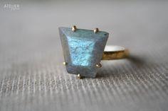 Blue Flashy Labradorite Set in Solid 14k Gold by ATELIERGabyMarcos