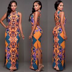Women's Summer Sleeveless Boho Long Maxi Evening Party Dress Sexy Beach Dresses African Maxi Dresses, Ankara Dress, African Attire, African Wear, Dress Skirt, Chic Couture Online, Couture Mode, Couture Fashion, Elegant Dresses