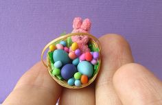 Colorful dollhouse miniature Easter basket with colorful candies and eggs by The Mouse Market