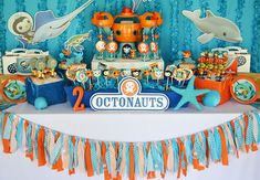 Brittany S's Birthday / Octonauts - Photo Gallery at Catch My Party Birthday Party Tables, 6th Birthday Parties, Birthday Party Decorations, Birthday Ideas, Party Themes, Baby Boy 1st Birthday, 1st Boy Birthday, Octonauts Party, Bubble Guppies Birthday