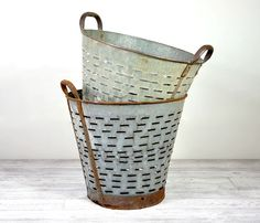 Vintage Metal Olive Baskets....use to store logs, magazines, blankets etc.