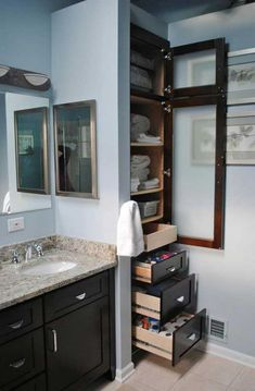 Small Bathroom Linen Cabinet - Have you got plans to redecorate the restroom? Are already bored with the old design and wis Bathroom Linen Cabinet, Wooden Bathroom, Linen Closet In Bathroom, Laundry Room, Master Bathroom, Compact Bathroom, Small Bathroom Storage, Bathroom Organization, Organization Ideas