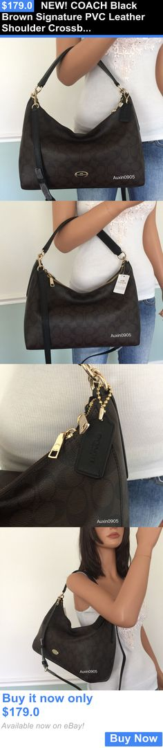 Women Handbags and Purses: New! Coach Black Brown Signature Pvc Leather Shoulder Crossbody Bag Hobo Purse BUY IT NOW ONLY: $179.0