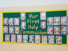 Catholic Art, Religious Art, Auction Projects, Art Projects, Plywood Furniture, First Communion Decorations, Elementary Art Rooms, Class Displays, Religious Education