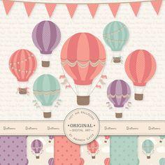 Premium Vintage Hot Air Balloons Clip Art & Digital Papers Set - Hot Air Balloon Clipart, Hot Air Balloons Digital Papers, Vintage Balloons