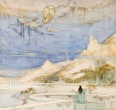 "The Arrival by Timlin, William Mitcheson  1923.  Watercolor on paper,  signed  ""William M. Timlin"" (lower left). 10-1/2 x 9-1/2 in. Framed.  Watercolor on paper, signed ""William M. Timlin"" (lower left). 10-1/2 x 9-1/2 in. Born in Northumberland, Timlin emigrated to South Afric...  more   Offered By  James Cummins Bookseller"