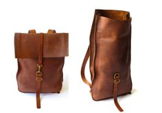 Roll top tall leather bag design. flexible belt length