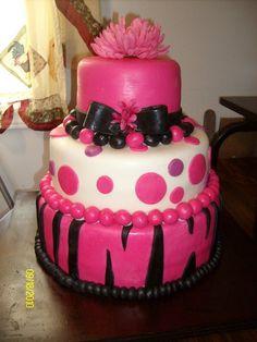 Pink & Black BD cake