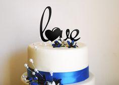 Love Heart Cake Topper  Love Wedding Cake Topper by MarkedMoments, $15.97