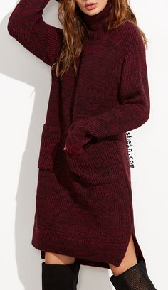 Burgundy Marled Knit Turtleneck High Low Sweater Dress