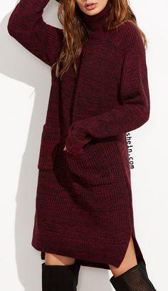 Burgundy Marled Knit Turtleneck High Low Sweater Dress