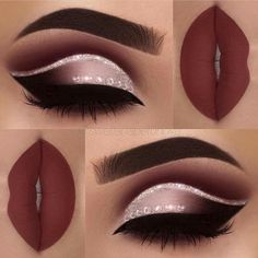 Blinged out oxblood eye shadow.