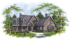 As lovely on the inside as it is on the outside, this luxury home features a handsome stone exterior and attractive architectural details such as the dormers and covered porch. House Plan # 221025
