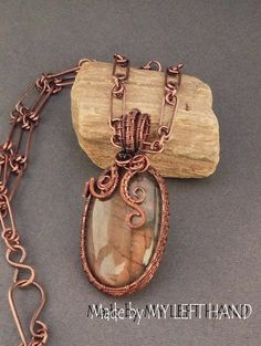 Labradorite Wire Wrap Necklace Copper Wire by MadeByMyLeftHand