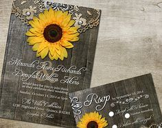 Rustic Sunflower Wedding Invitation and RSVP Reply Card - Printable Invitation - Rustic Wedding Invitaion | Country Wedding