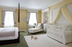 Baby Nursery Choco Strawberry Ideas for Baby Girl Nursery Decorations: Elegant White Dominant Royal Baby Room Design In One With Master Bedroom Also White Sleek Carpet Rug And Gold Diamond Frame Pattern Wallpaper