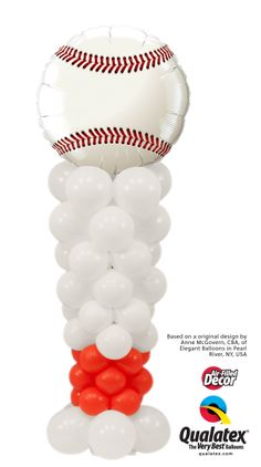 For school events, games and sport parties, this Batter Up Column will look great! It is topped with a Microfoil baseball balloon. #qualatex #balloon #baseball