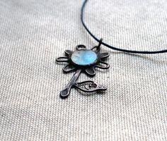 Floral pendant, turquoise blue, stained glass metal flower, Summer Flower by ArtKvarta on Etsy