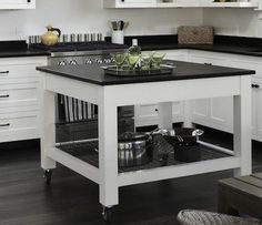 Kitchen island on wheels farmhouse 44 Ideas Black Granite Kitchen, Black Countertops, Granite Flooring, White Kitchen Cabinets, Black Kitchens, Kitchen Countertops, Home Kitchens, Kitchen Black, White Counters