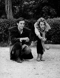 Alain Delon and Jane Fonda play boules.
