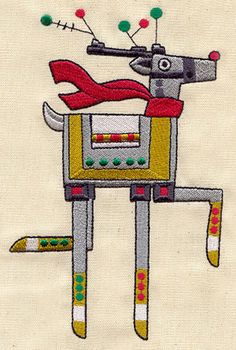 Robot Reindeer   Urban Threads: Unique and Awesome Embroidery Designs
