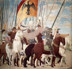 Piero Della Francesca - Constantine's Victory over Maxentius (detail) Medieval Horse, Medieval Art, Renaissance Kunst, Italian Renaissance, Italian Painters, Italian Artist, Andrea Mantegna, Fra Angelico, Virtual Art