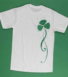 Lucky shimmery shamrock shirt! #Craft using supplies from Joann.com or JoAnn Fabric and Craft stores.