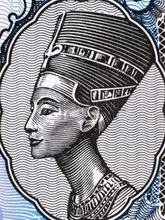 Reina Nefertiti (1370-1330 aC), el 5 Piastres 1998 Billetes de Egipto. Gran Esposa Real del faraón egipcio Akenatón.
