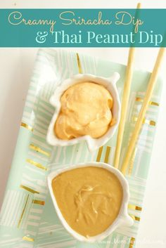 Creamy Sriracha and Thai Peanut Dip: The perfect easy appetizer when paired with Tai Pei Egg Rolls & Spring Rolls!