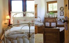 An antique children's crib and trunk add an old-fashioned touch to a gabled bedroom - www.southernladymagazine.com #antiques