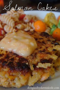 Salmon Cakes - forget my other recipes posted. Parmesan crust is awesome. Made these tonight, minus the sauce, and they were DELICIOUS! Other Recipes, Fish Recipes, Seafood Recipes, Great Recipes, Cooking Recipes, Favorite Recipes, I Love Food, Good Food, Yummy Food