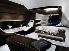 A collaboration between Mercedes-Benz Style and Lufthansa Technik, this VIP Jet Cabin is designed to be the epitome of style and luxury, with the same attention to detail you'd find in high-end Mercs on the road. Described by Mercedes as Jets Privés De Luxe, Luxury Jets, Luxury Private Jets, Private Plane, Luxury Hotels, Mercedes Benz, Avion Jet, Executive Jet, Airplane Interior