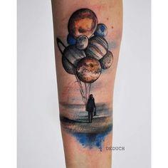 Planet Balloons Forearm Tattoo