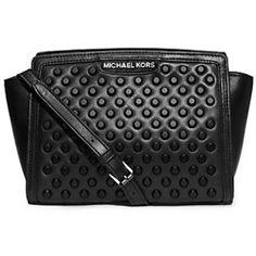 Michael Kors Selma Studded Leather Medium Messenger in Black