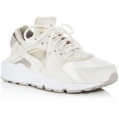 Nike Air Huarache Run Lace Up Sneakers (€100) ❤ liked on Polyvore featuring shoes, sneakers, nike trainers, lace up shoes, lacing sneakers, laced shoes and neoprene shoes