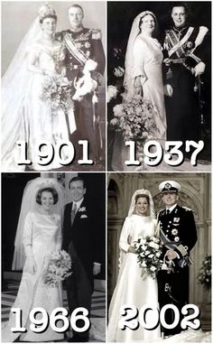 royalmontages: Dutch Royal Weddings-Queen Wilhelmina and Duke Henry of Mecklenburg-Schwerin, 1901; Crown Princess Juliana and Prince Bernhard of Lippe-Biesterfeld, 1937; Crown Princess Beatrix and Claus von Amsberg, 1966; Crown Prince Willem-Alexander and Máxima Zorreguieta Cerruti, 2002.
