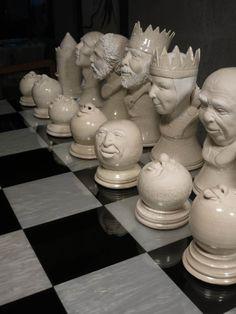 ☆ Ceramic White Pieces Chess Set :→: Artist -Ƹ̵- Sculptor Pamela Mummy ☆