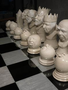 ☆ Ceramic White Pieces Chess Set :→: Artist -Ƹ̵- Sculptor Pamela Mummy ☆