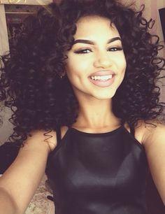 Image via We Heart It #blackbeauty #brunette #curlyhair #dimples #fashion #girl #makeup #model