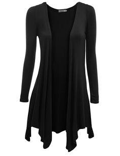 Doublju Womens Long Sleeve Draped Open Front Cardigan at Amazon Women's Clothing store: Cardigan Sweaters