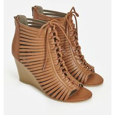 Justfab Wedges Leire ($40) ❤ liked on Polyvore featuring shoes, sandals, brown, lace up sandals, brown sandals, brown wedge sandals, high heel sandals and brown strappy sandals