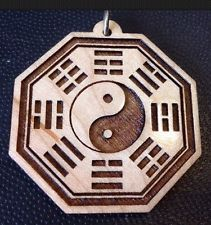 OM Ba Gua Yin Yang carved wood pendant Necklace Spiritual Sacred #Gift #Unisex