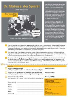 Der Werbezettel für unser Hörbuch DR. MABUSE, DER SPIELER. Der Roman war bestens geeignet, um den Weg in die Kinos zu nehmen: Aktualität, Sensation, Verbrechen, modernste Technik, Tempo, Luxus, Macht, Geld und schöne Frauen sind Zutaten, die sich für das Kino gut eigneten