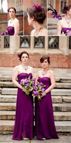 purple bridesmaids + feathers