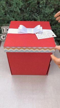 Diy Crafts For Gifts, Fun Crafts, Paper Crafts, Valentines Bricolage, Valentines Diy, Birthday Box, Birthday Cards, Birthday Gifts For Best Friend, Diy Gift Box