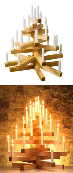 Christmas Tree using wood planks and candles