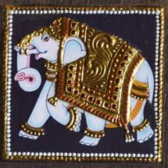 Elephant with Golden Ambari Tanjore Painting