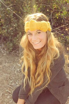 Crocheted Bow Headband/Earwarmer. Perfect for fall! || Adult Button Back Bow Headband by ShineFreely on Etsy