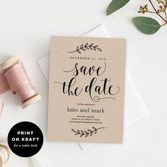 Reserve the date with this effortlessly elegant Save The Date Card Template! Print on white paper for a modern look or on kraft for a rustic look! This listing is for a printable digital file only. Want this printed? Buy it at our shop here: http://bit.ly/2xV06Si Easily customized