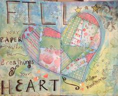 Paper heart art journal page by Lettie Cox